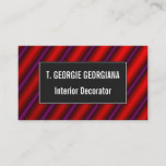 [ Thumbnail: Red, Purple and Black Laser-Like Line Pattern Card ]
