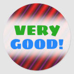[ Thumbnail: Red, Purple and Black Laser-Like Line Pattern Round Sticker ]
