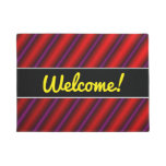 [ Thumbnail: Red, Purple and Black Laser-Like Line Pattern Doormat ]