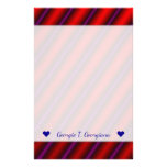 [ Thumbnail: Red, Purple and Black Laser-Like Line Pattern Stationery ]
