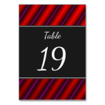 [ Thumbnail: Red, Purple and Black Laser-Like Line Pattern Table Number ]