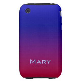 Red, Purple and Deep Blue Ombre Customizable Tough iPhone 3 Cover