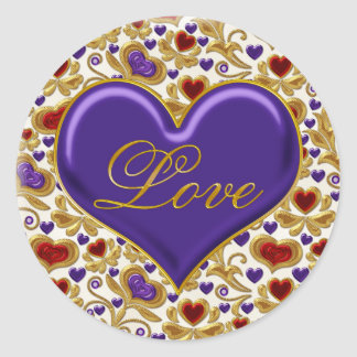 Red Purple and Gold Hearts Ornate Gold Swirls Love Classic Round Sticker