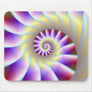 Red Purple and White Spiral Mousepad