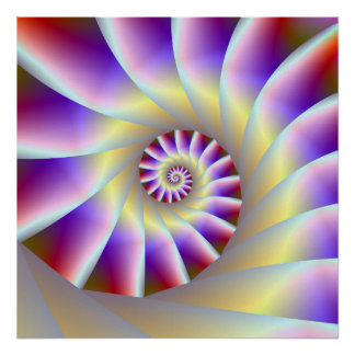Red Purple and White Spiral Poster