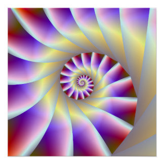 Red Purple and White Spiral Steps Perfect Poster