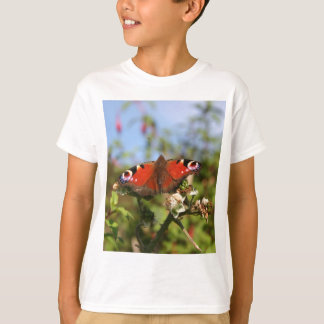 Red Purple Black Butterfly on a Berry Plant T-Shirt