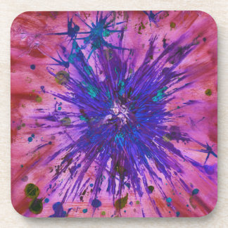 Red Purple Blue Star Abstract Art Acrylic Painting Coaster