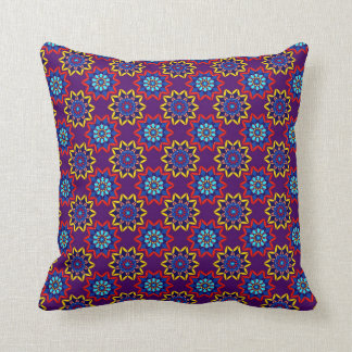 Red Purple Blue Yellow Floral Kaleidoscope Pillow