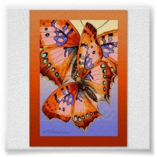 Red purple butterflies on gold blue abstract art poster