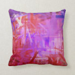 Red Purple Fine Art Painting Style Throw Pillow