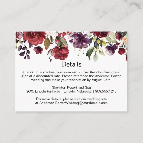 Red Purple Green Floral Spray Enclosure Cards