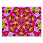 Red & Purple Kaleidoscope Mandala Photo Print