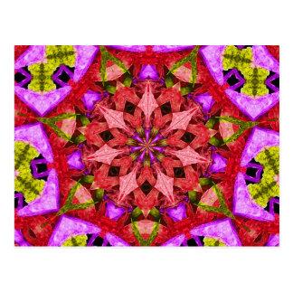 Red & Purple Kaleidoscope Mandala Postcards