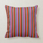[ Thumbnail: Red, Purple, Midnight Blue, Pale Goldenrod & Black Throw Pillow ]