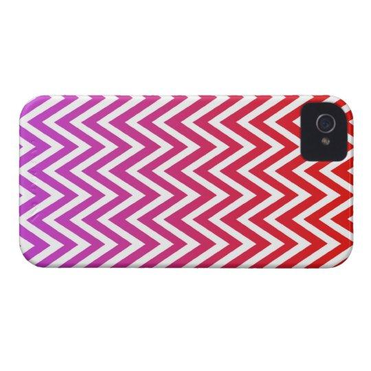 Red purple ombre chevron stripes iphone 4 case