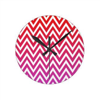 Red purple ombre chevron zigzag stripes clock