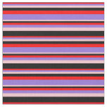 [ Thumbnail: Red, Purple, Pink & Black Stripes Pattern Fabric ]