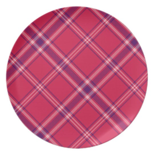 Red/Purple/Pink Tartan Plaid Plate