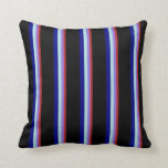 [ Thumbnail: Red, Purple, Powder Blue, Blue, and Black Lines Throw Pillow ]