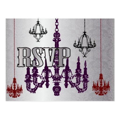 Red, Purple & Silver Chandelier RSVP Postcards