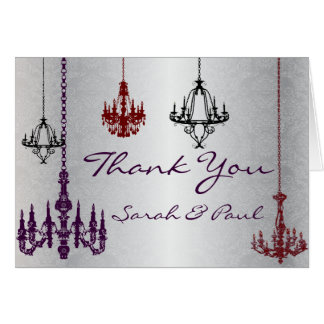 Red Purple & Silver Chandelier Thank You Card
