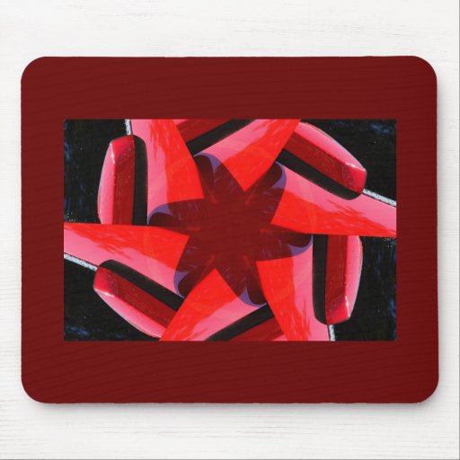Red & purple star knot fractal mouse pad