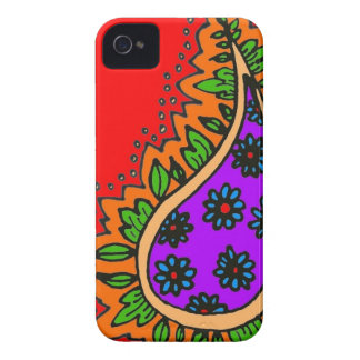 Red, purplen and orange paisley iPhone 4 cover