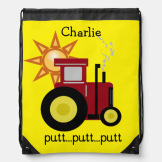 Red Putt Putt Tractor Drawstring Backpack Bag