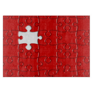 red puzzle cutting board