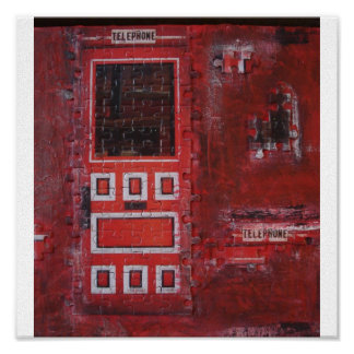 Red Puzzle Door on Canvas Poster