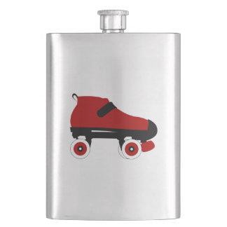 red quad roller derby skate flask