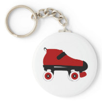 red quad roller derby skate keychain