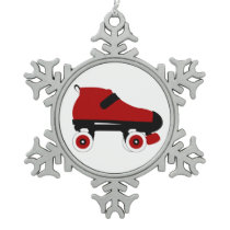 red quad roller derby skate snowflake pewter christmas ornament
