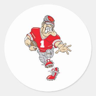 Red Quarterback Classic Round Sticker