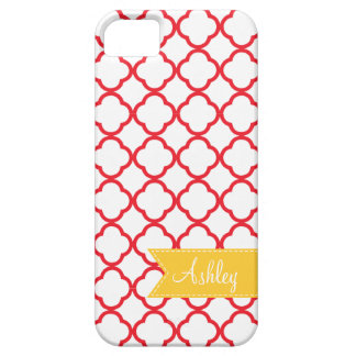 Red Quatre Foil with Custom Yellow Monogram Ribbon iPhone SE/5/5s Case