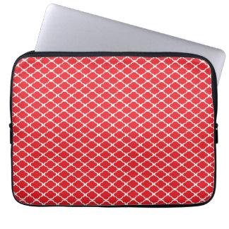 Red Quatrefoil Laptop Computer Sleeve