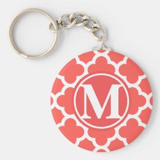 Red Quatrefoil Monogram Basic Round Button Keychain