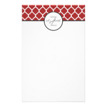 Red Quatrefoil Monogram Stationery