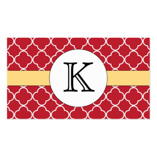 Red Quatrefoil Pattern Double-Sided Standard Business Cards (Pack Of 100)