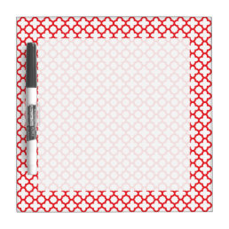 Red Quatrefoil Pattern Dry Erase Board