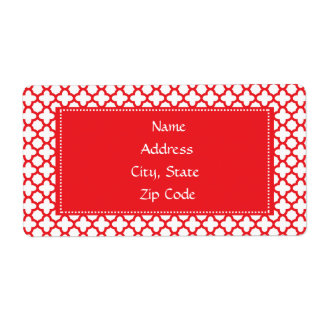 Red Quatrefoil Pattern Label