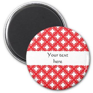 Red Quatrefoil Pattern 2 Inch Round Magnet