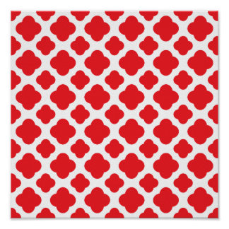 Red Quatrefoil Pattern Poster