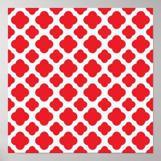Red Quatrefoil Pattern Poster