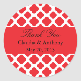 Red Quatrefoil Pattern Wedding Thank You Stickers