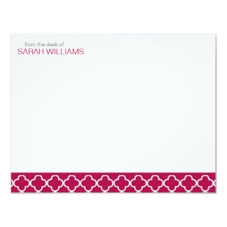 Red Quatrefoil Thank You Notes Card