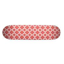 Red Quatrefoil Trellis Pattern Skateboard Deck