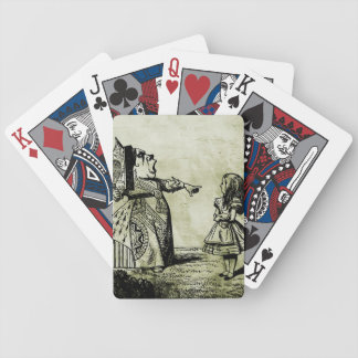 Red Queen & Alice (distressed green) Bicycle Poker Deck