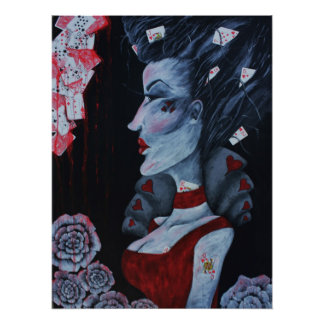 Red Queen Hearts Alice Wonderland Roses Goth Art Poster